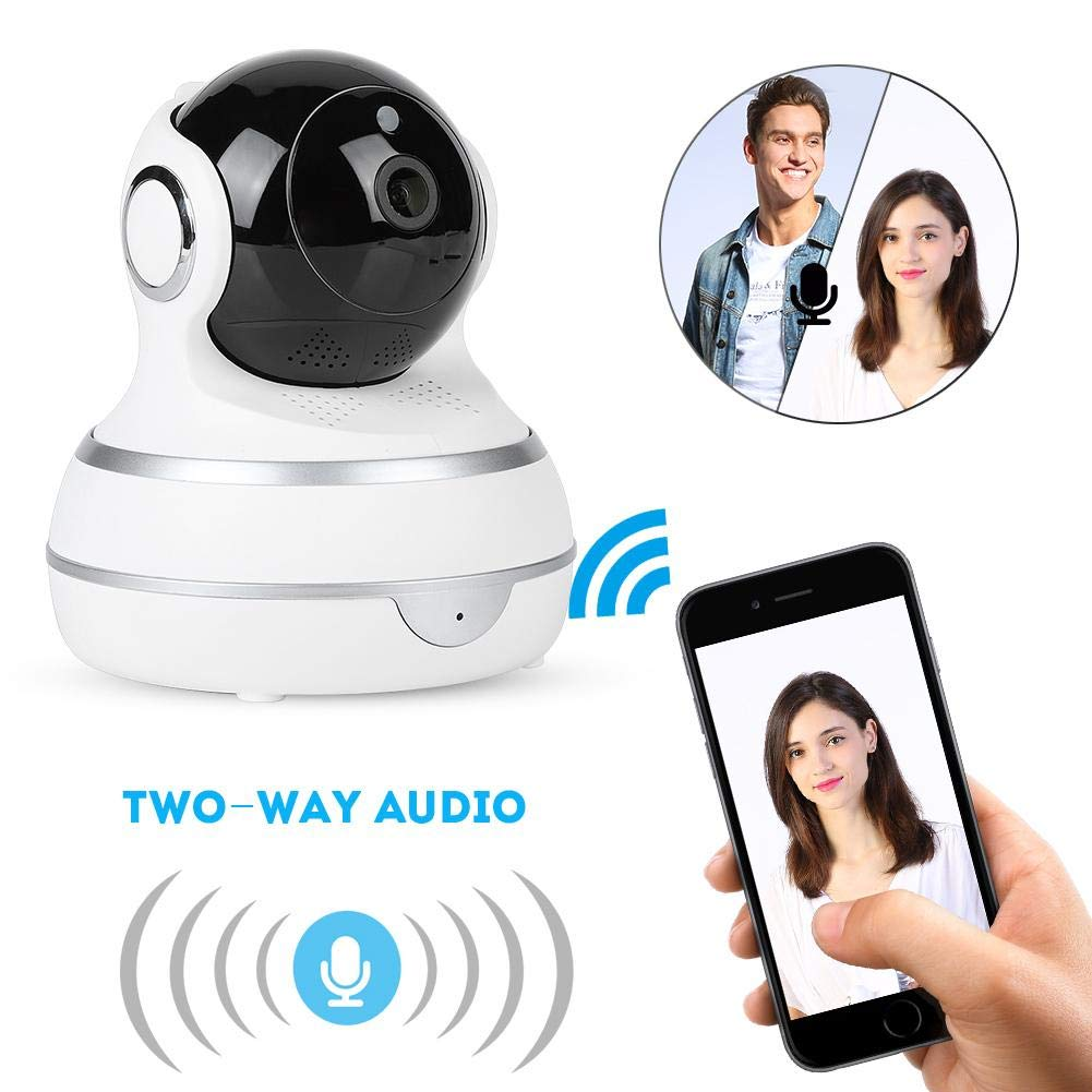 ASHATA Security Camera,100-240V Wireless 720P Security IP Camera Network Infrared Night Vision WiFi Webcam,Baby Monitor Support for Android iPhone(White)