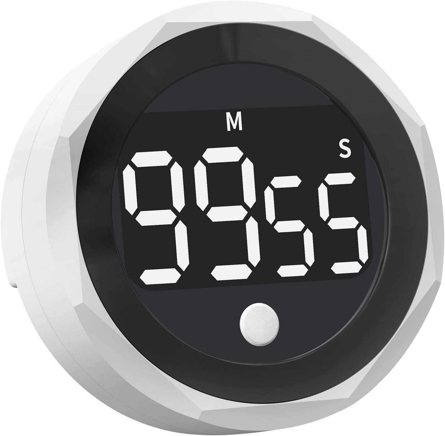 Digital Kitchen Timer - 99 Minutes and 55 Seconds LED Display Visual Timers for Cooking, Food, Game, Fitness, Autism, Meeting, Countdown Timer for Kids Time Management (White)