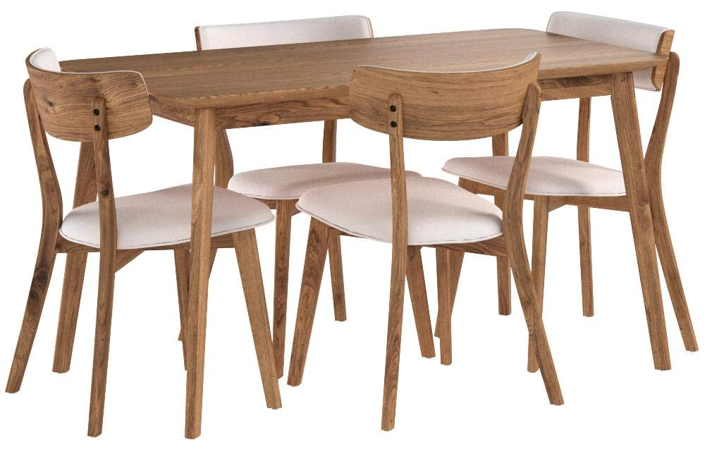 GDF Studio 301320 Aman Mid Century Natural Walnut Finished 5 Piece Wood Dining Set with Light Beige Fabric Chairs by GDF Studio