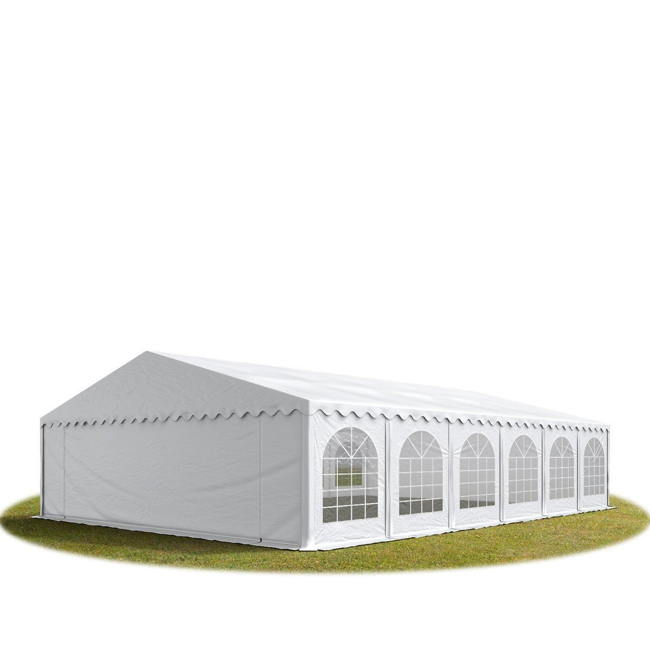 Festzelt Partyzelt 8x12m, hochwertige 500g/m² feuersichere PVC Plane nach DIN in weiß, 100% wasserdicht, vollverzinkte Stahlkonstruktion mit Verbolzung