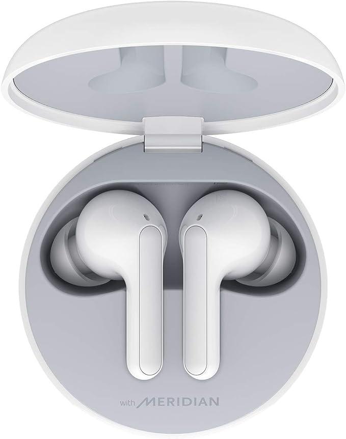 LG Tone Free HBS-FN4W - Auriculares True Wireless con Sonido Meridian, Bluetooth 5.0, Estuche de Carga inalámbrico, Carga rápida, comandos de Voz Google, protección IPX4 y Doble micrófono - Blanco.