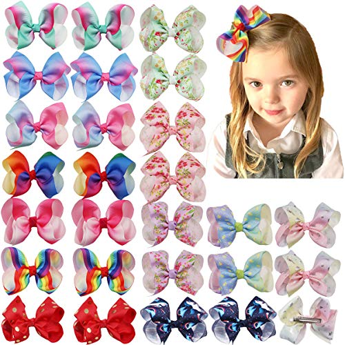 DeD 26 Pieces Hair Bows for Baby Girl 4 Inch Colorful Grograin Ribbon Bows with Clips Rainbows Hair Bows Clips for Kids Toddlers Girls In Pairs]()