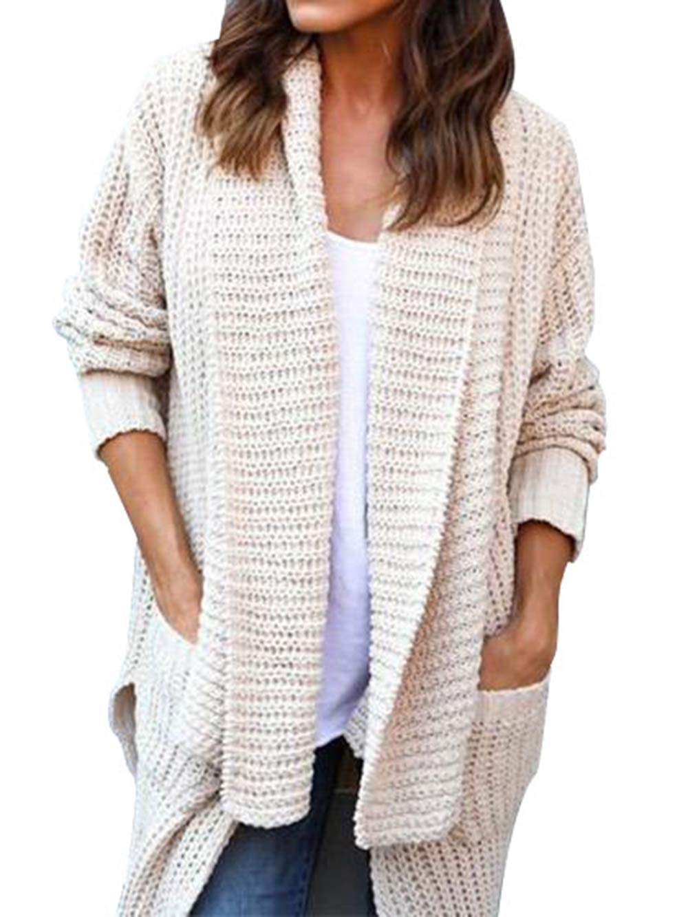 LovInParis Womens Cardigan Sweaters Loose Open Front Long Sleeve Knit Outwears Cardigans