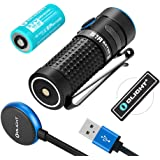 Olight S1R II 1000 Lumen Compact Rechargeable EDC Flashlight with Single RCR123A Battey, Magnetic Charging Cable and Olight Patch