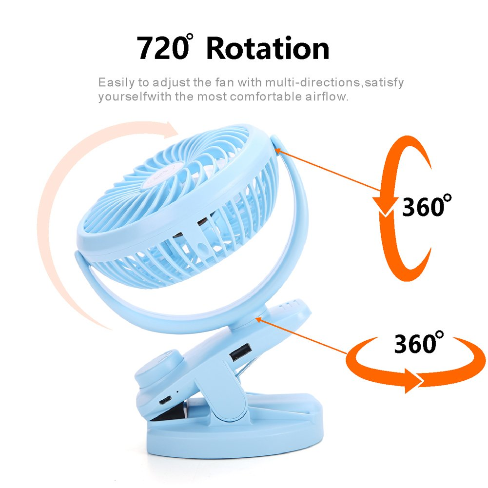 Wooce 4400mAh Battery//USB Powered Fan Mini Portable Personal Fan for Baby Stroller Travel IREENUO Rechargeable Battery Operated Clip on USB Desk Fan Office Car Outdoor Camping Blue Gym