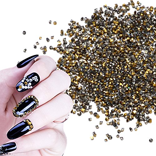 QIMYAR Mini Diamond Shining DIY Rhinestones Crystal Flat Back Rhinestones Need Glue Phone & Nail Art Decoration 1440Pcs (Gold)
