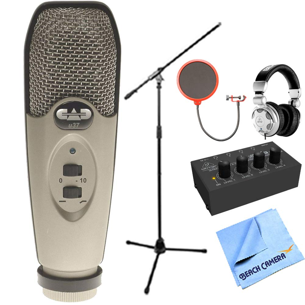 CAD Audio U37 USB Large Diaphragm Cardioid Condenser Microphone w/Tripod, 10' Cable Silver + Wind Screen + Mic Stand + Behringer HPX2000 DJ Headphones Behringer HA400 Stereo Headphone Amp