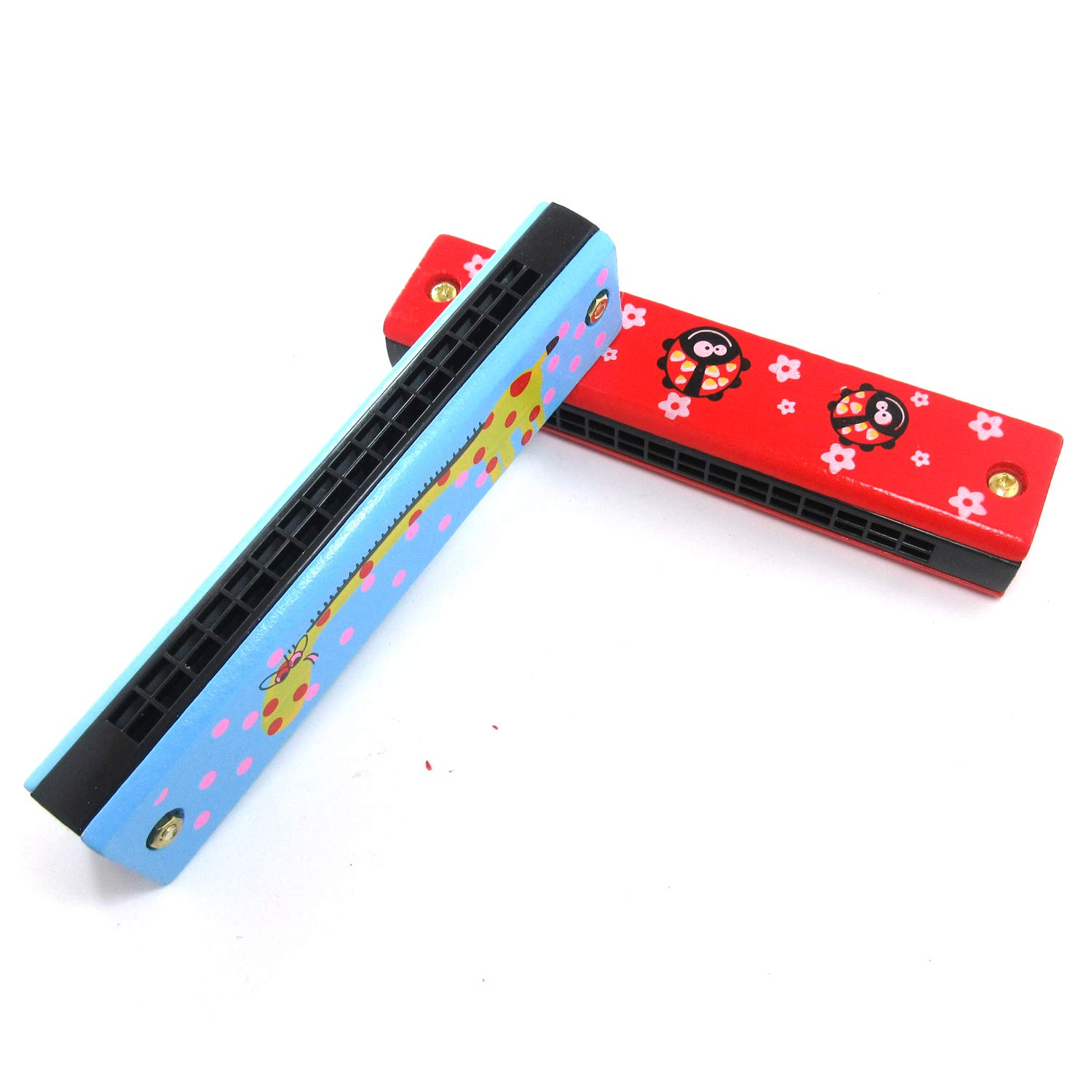 """2 Pack Cartoon Pattern Colorful Wooden 16 Hole 5""""Harmonica Music Instrument Educational Toyfor Toddlers, Kids (Random Color&Pattern)"""
