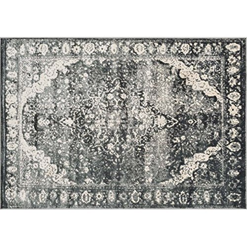 Loloi Rugs ELTOEO-03SLIV77A5 Elton Collection Transitional Area Rug, 7-Feet 7-Inch by 10-Feet 5-Inch, Slate/Ivory