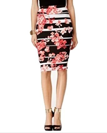 f912acfc97b4e3 Image Unavailable. Image not available for. Color: Thalia Sodi Printed Pencil  Skirt, Womens Small Black