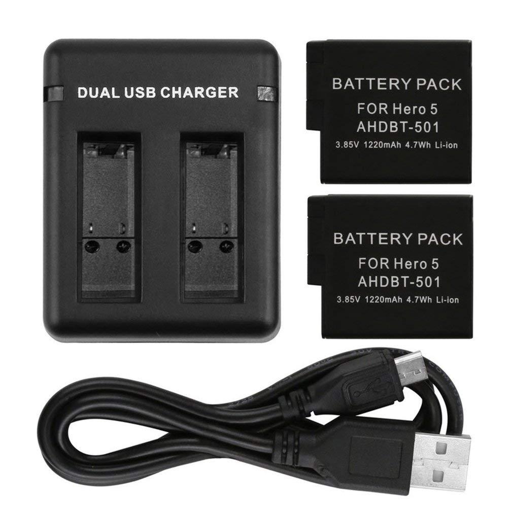 TAOHOU Cargador de bater/ía USB con Dos Ranuras de Carga y Cable USB para GoPro Hero 5//6 Negro