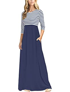 d768d62bcf MEROKEETY Women s Striped Scoop Neck 3 4 Sleeve Casual Maxi Dress with Side  Pockets