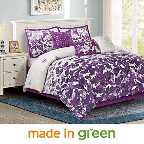 Wonder Home 2018 Spring Trending Floral Print Comforter Set, 7 Piece Oversized Bedding Set with Shams, Dec Pillows, Bedskirt, Queen, 92