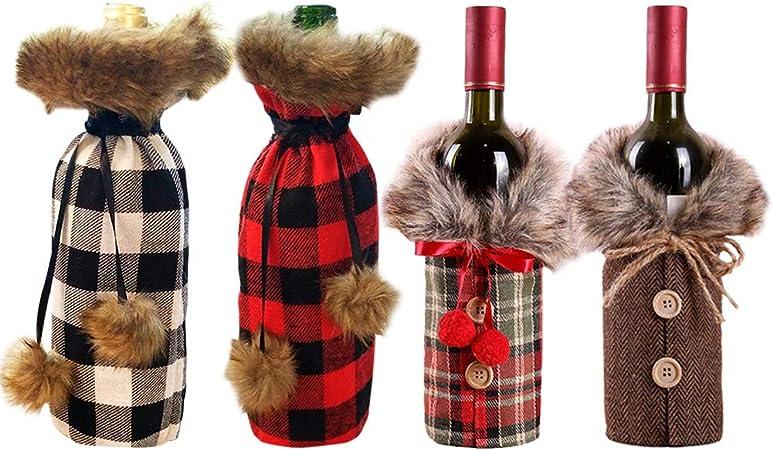Cubierta de Botella de Vino de Navidad 4 Piezas Bolsas de Vino Tinto para Vestir Botella
