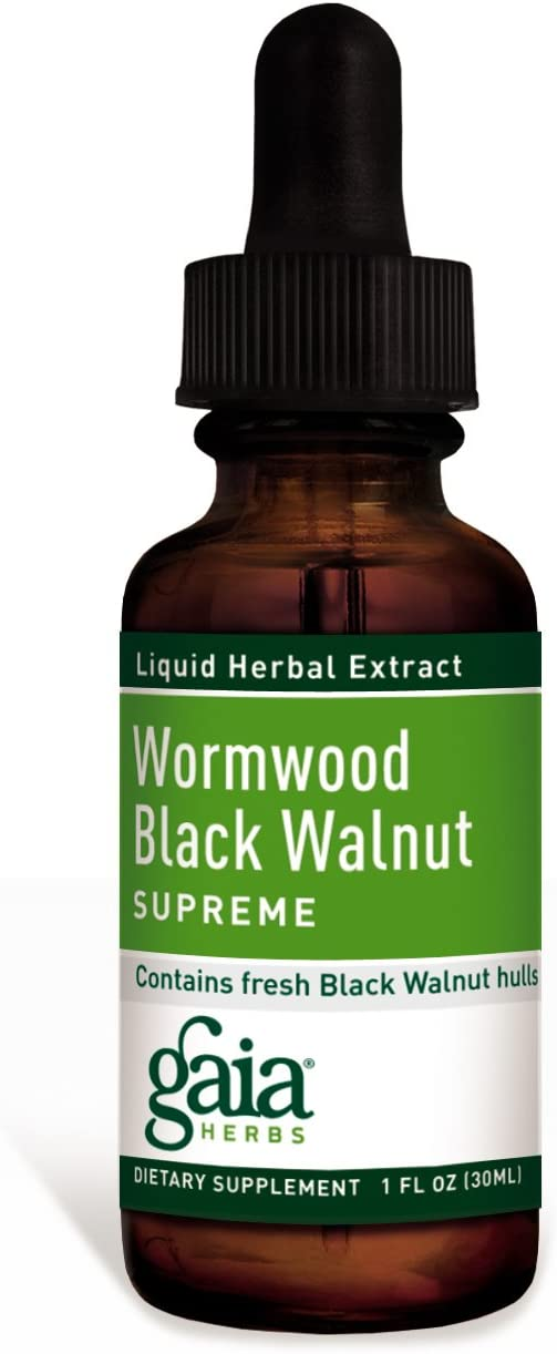 Gaia Herbs Wormwood Black Walnut Supreme, Liquid Herbal Extract, 1 Ounce Pack of 2 – Supports Healthy Intestinal Flora GI Tract Health