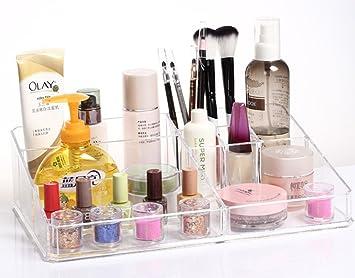 Cambio de Caso de cristal de kamay es caja estuche de lujo aroma de polvos de talco del dormitorio para maquillaje titular al cuarto de baño o el expositor de una: Amazon.es: