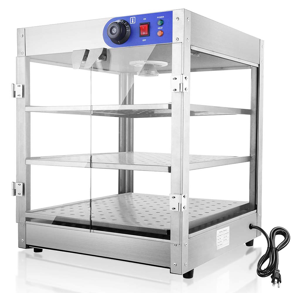 WeChef Commercial Countertop Food Pizza Warmer 3-Tier 24x20x20 inch Pastry Heater Display Case for Buffet Restaurant by WeChef