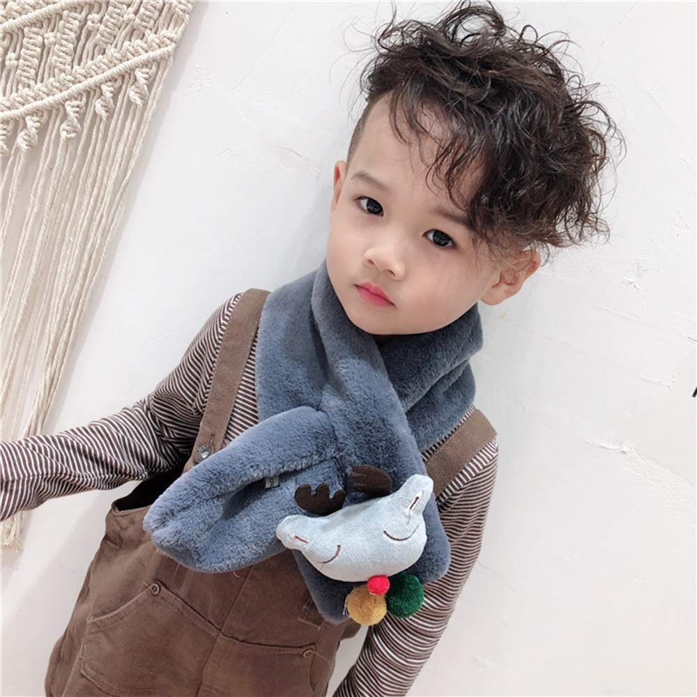 Honfill Winter Warm Scarf Furry Loop Windproof for Kids Toddlers Boys Girls