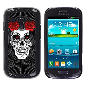 Shell-Star Arte & diseño plástico duro Fundas Cover Cubre Hard Case Cover para Samsung Galaxy S3 III MINI (NOT REGULAR!) / I8190 / I8190N ( Hippie Skull Peace Red Rose Devil )