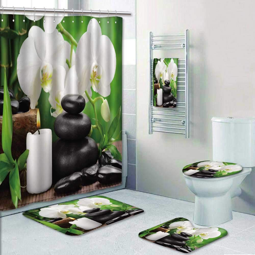 Philip-home 5 Piece Banded Shower Curtain Set Zen Basalt Stones and Orchid on The Wood Decorate The Bath