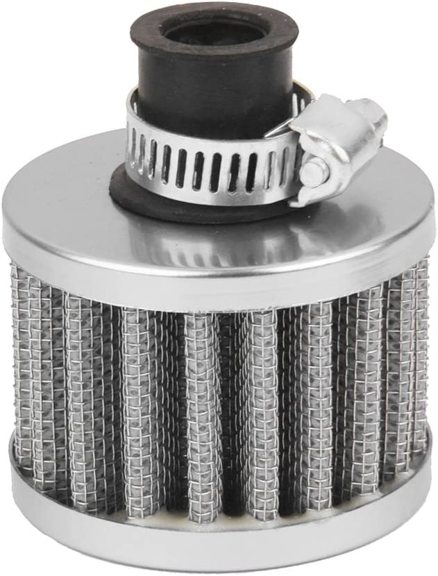 12mm Car Auto Crankcase Vent Cold Air Intake Breather Filter Universal Grey