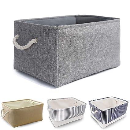 la meilleure attitude 402f1 96147 MANGATA Panier de rangement en tissu, Boîte de rangement pliable en toile  épaissie avec poignées de corde pour vêtements, jouets (lavable, grand, ...