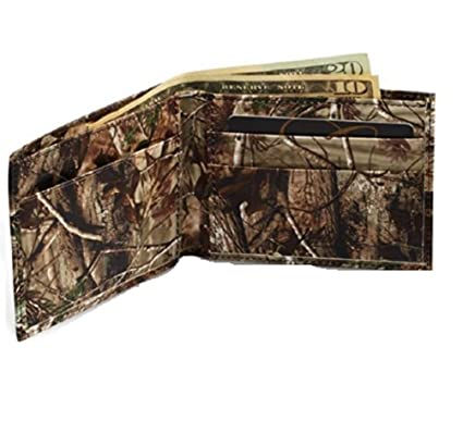 cb1c31205fe8 Realtree Leather Wallet, Mens All Purpose Camo Leather Billfold + ID Case