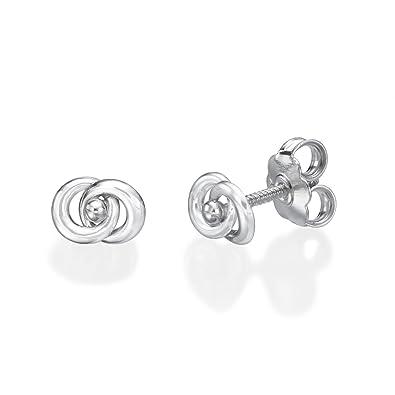 b0413a246 14K Fine White Gold Circles Screw Back Stud Earrings for Baby Girls Gift  Children Kids