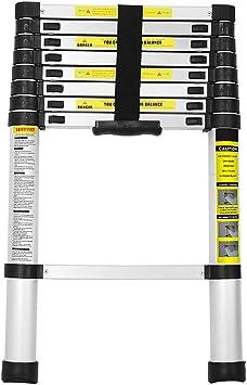 BMOT 2,6M Escalera telescópica de Aluminio Fuerte Estabilidad Escalera plegable Escalera alta multifuncional para loft 9 Escalones Antideslizantes Carga 150 KG: Amazon.es: Bricolaje y herramientas