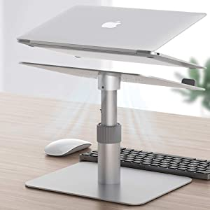 "Newaner Adjustable Laptop Stand for Desk, Aluminum Laptop Riser, Multi-Height 360°Rotation Notebook Stand Desktop Holder Compatible with MacBook Air Pro,iPad, HP, Samsung, Lenovo, Dell XPS(10-17"")"