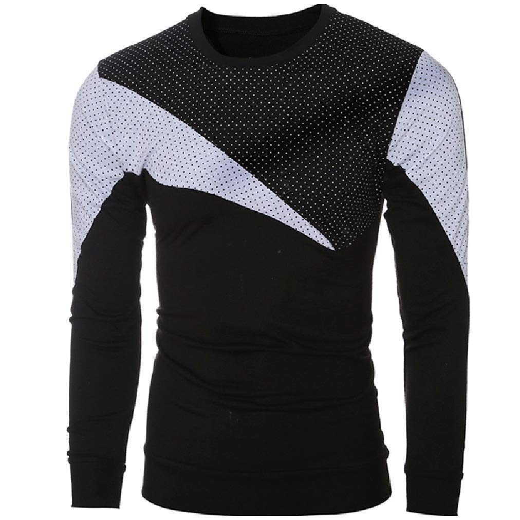 AngelSpace Mens Pullover Round Collar Silm Fit Dots Stitch Long Sleeve Tees Top