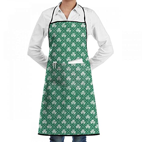 Waterproof Woman Plaid Apron with Pocket Kitchen Restaurant Cooking Baking IE