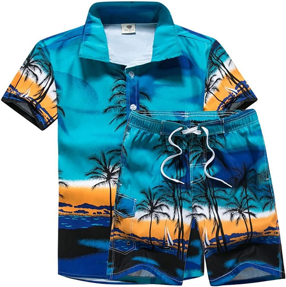 Lavnis Men's Short Sleeve Shirt and Shorts Floral Beach Casual Shirt Suit
