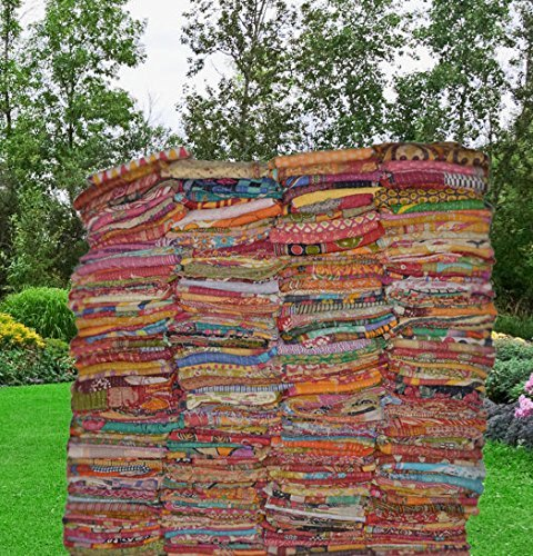 Texture Cotton Quilt Fabric - Vintage Handmade Kantha Quilts Indian Tribal Kantha Cotton Bed Cover Throw Assorted Patches Made Rally Reversible Bedspread Throw Old Sari Made Assorted Patches Cotton Blanket Pure Cotton Indian Gudri