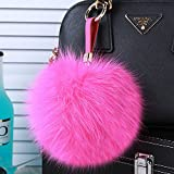 Roniky Newest Large Genuine Fox Fur Pom Pom Keychain Bag Purse Charm Gold Ring Fluffy Fur Ball (5.1