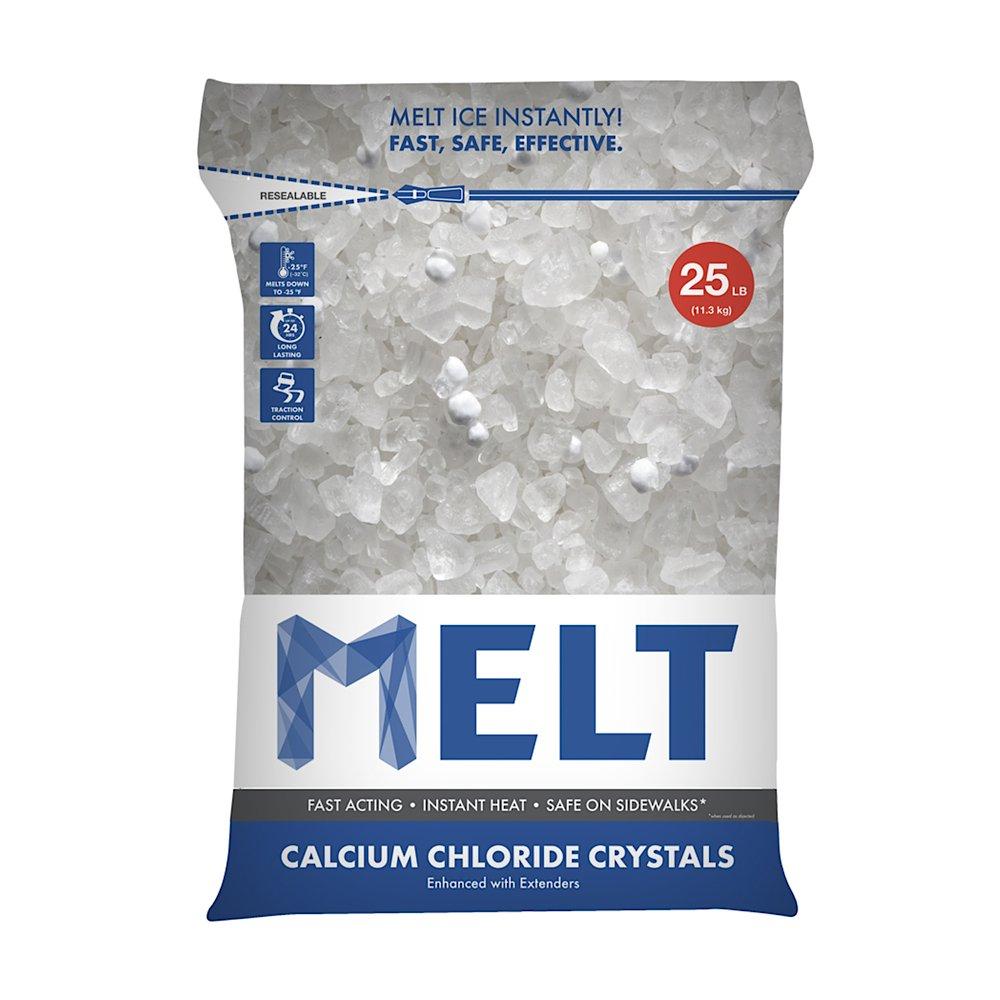 Snow Joe MELT25CC Calcium Chloride Crystals Ice Melter Resealable Bag, 25-Pound