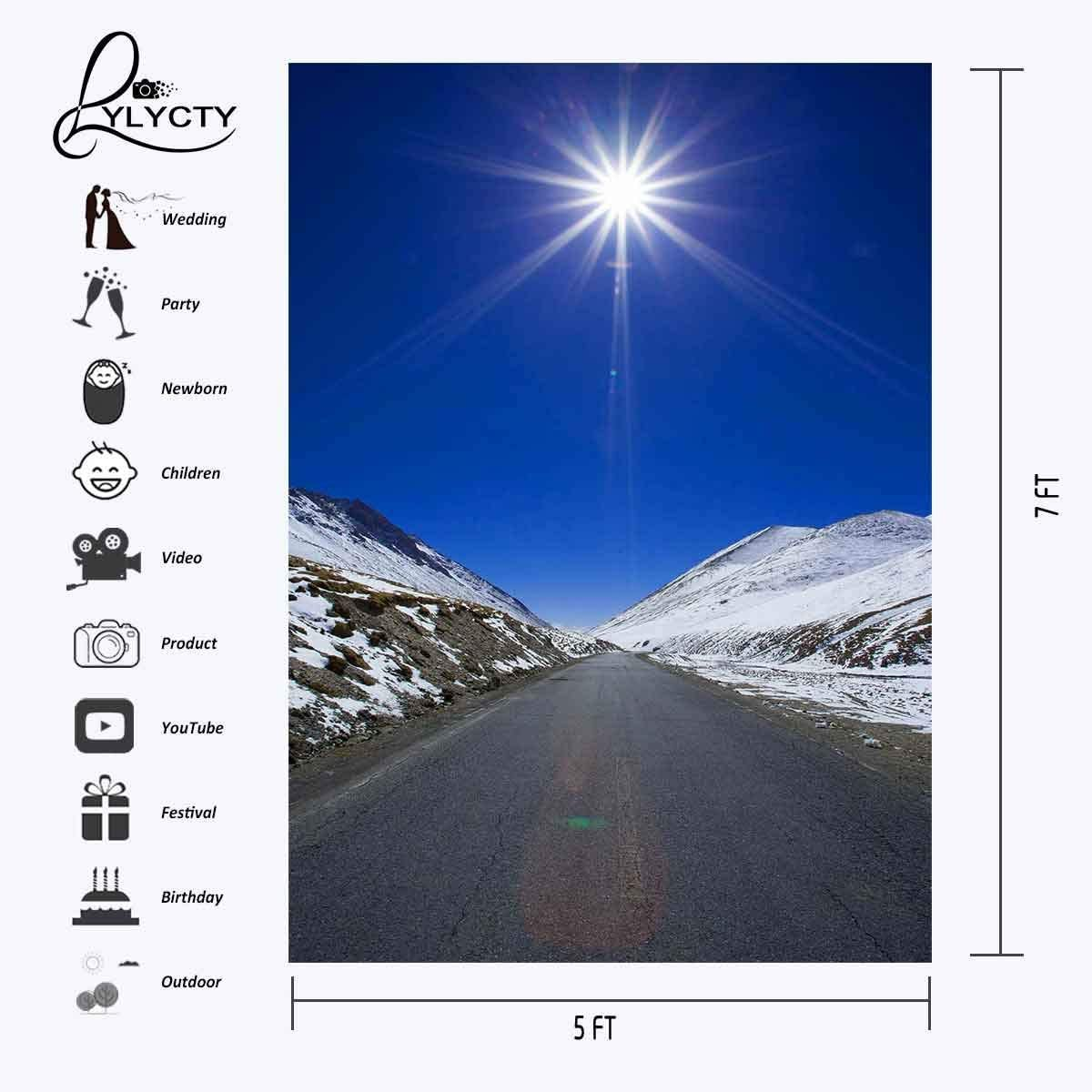 GoEoo 5x7ft Distant Road Backdrop White Snow Distant Highway Photography Background and Studio Photography Backdrop Props LYXC089