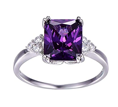 740258aa177f19 Pihu Creation Vintage Jewelry 5.25ct Amethyst 925 Sterling Silver Ring  Emerald Cut Purple Nature Stone