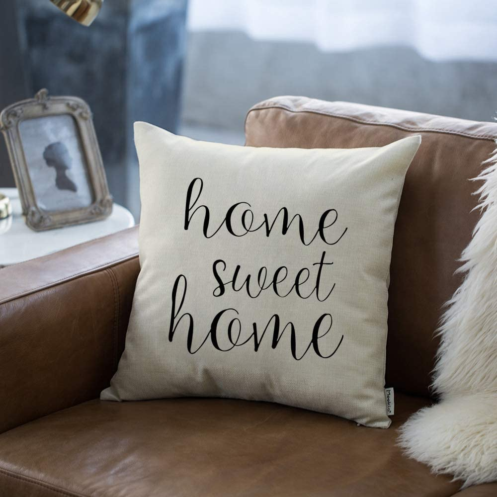 Farmhouse Pillow Covers With Home Sweet Home Quotes 18 X 18 For Farmhouse Decor Housewarming Gifts For New Home Kitchen Dining