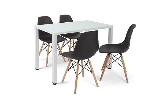 Mesa de cocina Viena blanca más 4 sillas Tower negras.: Amazon.es: Hogar