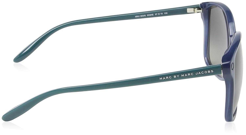 16792954c25353 Marc Jacobs - Lunette de soleil MMJ 203 S Rectangulaire - Femme, Blue  Frame Dark Grey Gradient  Amazon.fr  Vêtements et accessoires