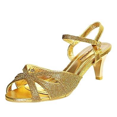 da62c41e4df Rock on Styles Ladies Party Diamante Wide Feet Low Kitten Heel Shoes Sandal  Plus Size A