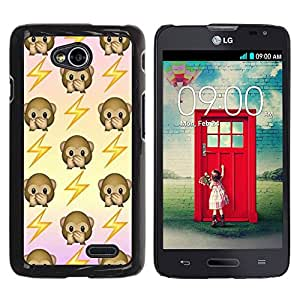 YOYOYO Smartphone Protección Defender Duro Negro Funda Imagen Diseño Carcasa Tapa Case Skin Cover Para LG Optimus L70 LS620 D325 MS323 - mono de nuevo patrón sacudida eléctrica