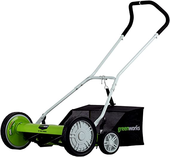 Greenworks 25072 20-Inch 5-Blade Push Reel Lawn Mower with Grass Catcher