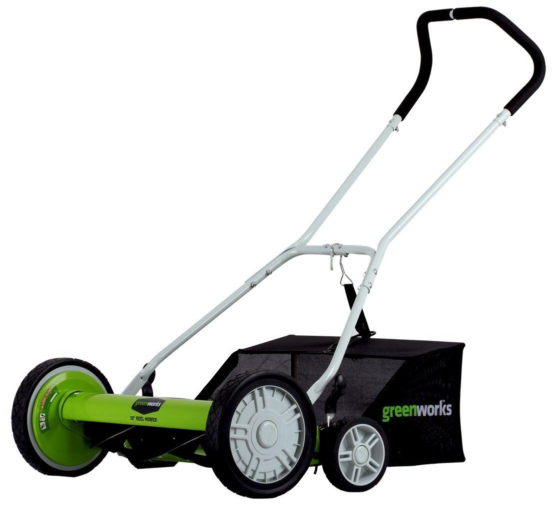 Greenworks 20-Inch 5-Blade Push Reel Lawn Mower with Grass Catcher 25072