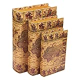 Juvale 3 Piece Book Box Set – Decorative Book Storage Box Money, Jewelry, Antique Map Design, 3 Different Sizes, 8, 10, 12 Inches
