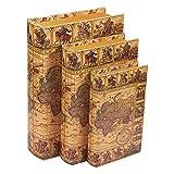 Juvale 3 Piece Book Box Set - Decorative Book Storage Box Money, Jewelry, Antique Map Design, 3 Different Sizes, 8, 10, 12 Inches