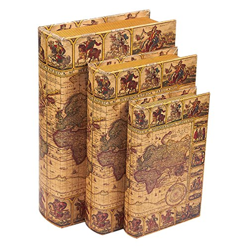 Book Safe - 3-Pack Fake Hollow Books, Hollowed Out Decorative Faux Books with Secret Hidden Compartment Box for Storage - Hide Jewelry, Money, Valuables, and More, Vintage Map Design ()