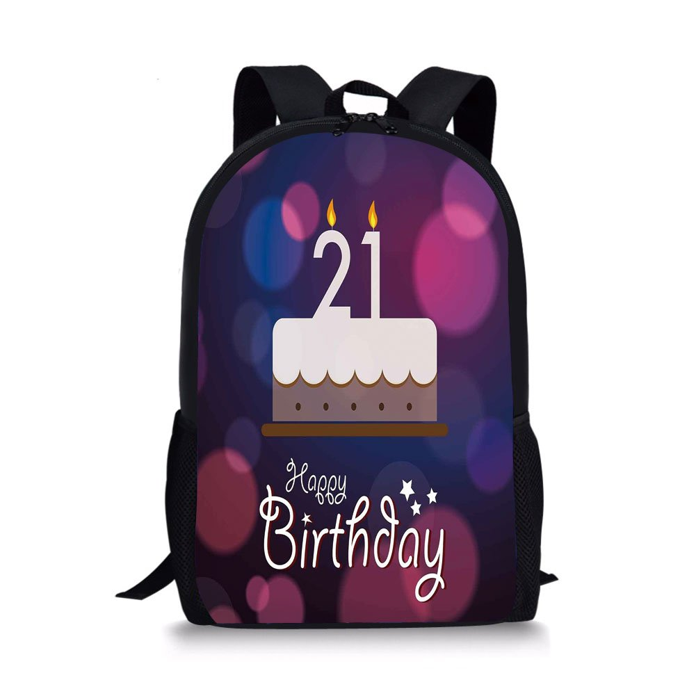 IPrint School Bags 21st Birthday DecorationsHappy Quote With Stars On Abstract Pink Toned ImageEggplant Purple For BoysGirls Mens Sport Daypack
