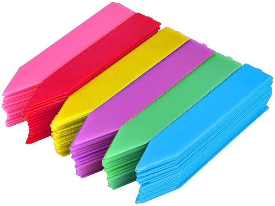 KINGLAKE 150 Pcs 4 Inch Thick Plastic Plant Garden Labels Nursery Seed Garden Plant Stake Tags 6 Colors